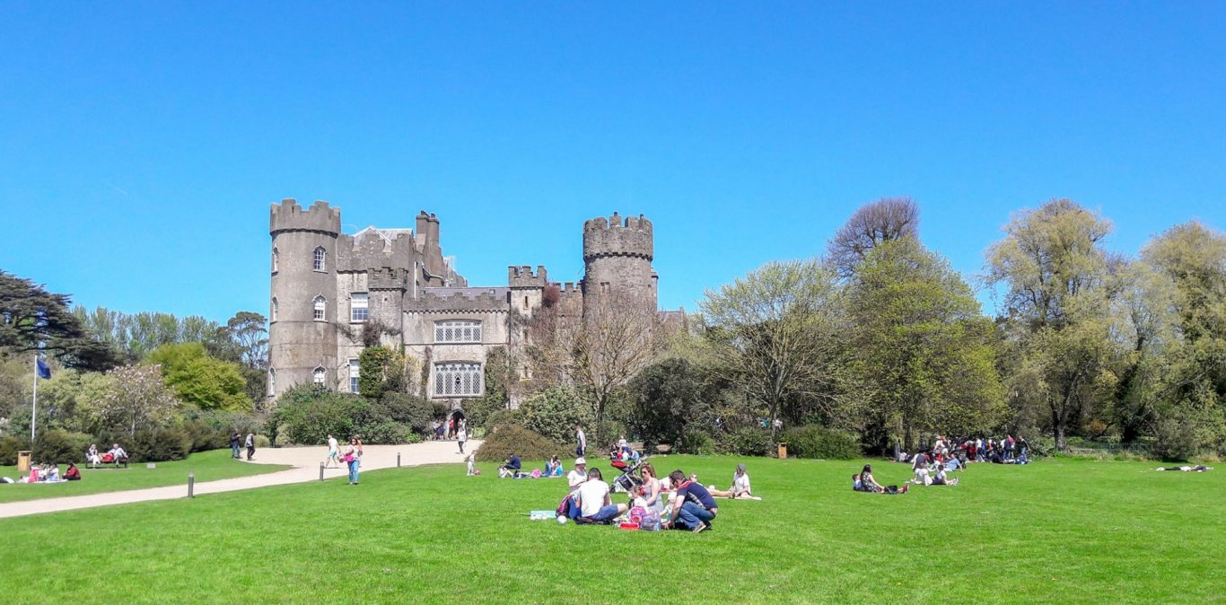 Malahide Castle with blue sky