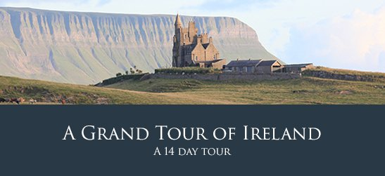 Irish Chauffeurs Tour Advertisement showing a castle and mountain
