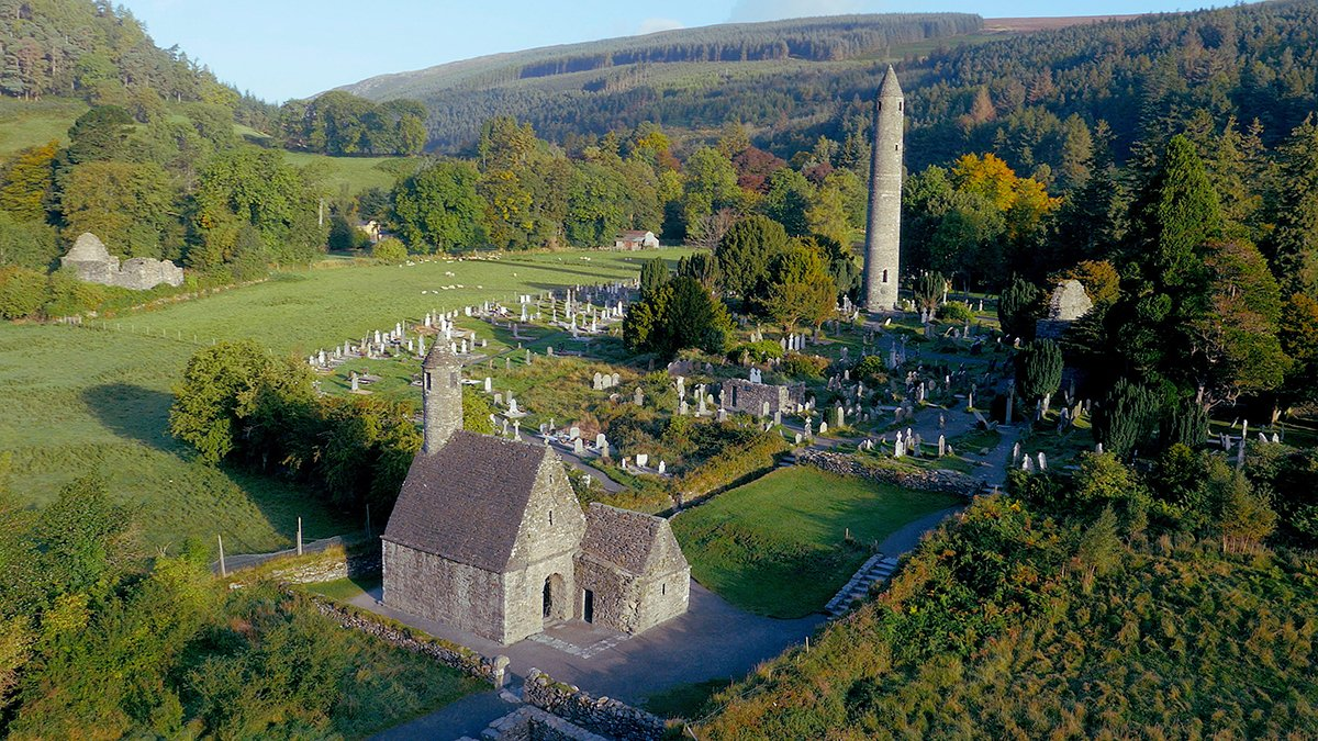 Aerial image of Glendalough Church and ROund Tower