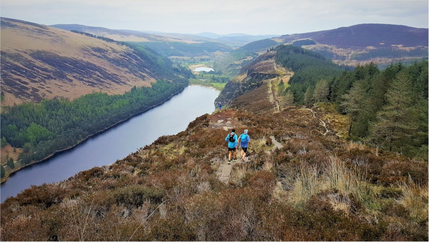Glendalough Spinc Walking Trail in County Wicklow overlooking Lake