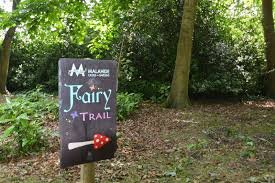 Signpost at Malahide Castle Fairy Trail in the woods