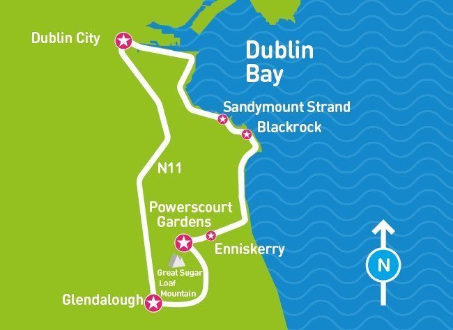 Glendalough Powerscourt Tour Map, dublin bay