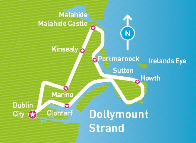 Malahide Tour Map, dollymount strand